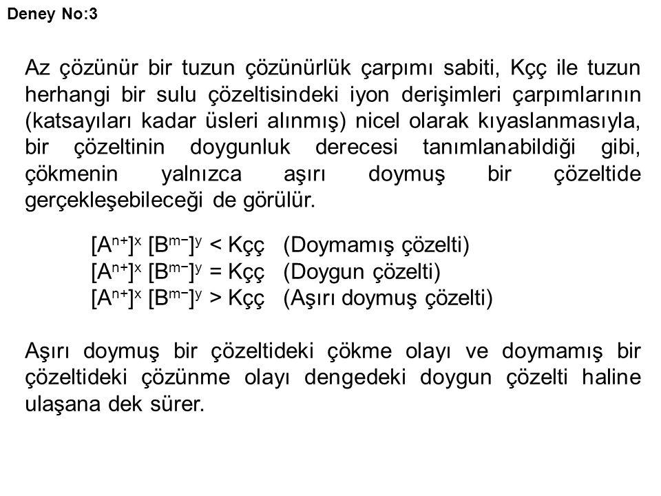 [An+]x [Bm−]y < Kçç (Doymamış çözelti)